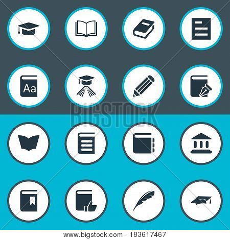 Vector Illustration Set Of Simple Reading Icons. Elements Graduation Hat, Book Cover, Notebook And Other Synonyms Recommended, Alphabet And Dictionary.