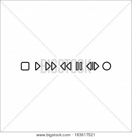 Isolated On White Background. Set  Music Icons. Includes Following Song, Dance Club, Rewind Back And