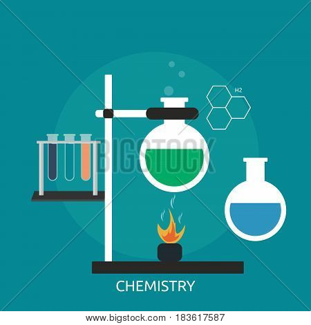 Chemistry Conceptual Design   Great flat illustration concept icon and use for science, research, technology, physics, chemistry and much more.