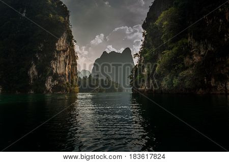 Beautiful mountains and river natural attractions in Khao Sok National Park Surat Thani ProvinceSouthern Thailand.