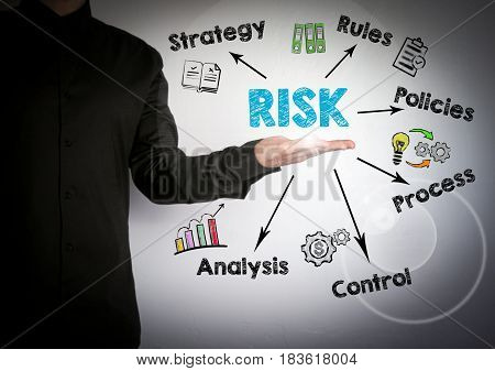 Risk management concept. Successful businessman at the light background.