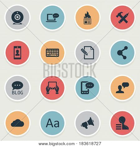 Vector Illustration Set Of Simple Blogging Icons. Elements Gazette, Site, E-Letter And Other Synonyms Profit, Sky And Network.