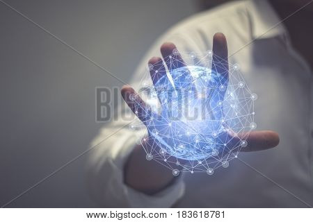 Media worldwide technology concept  and Businessman hands carrying world map - rule the world, world domination concepts etc  of this image furnished by NASA