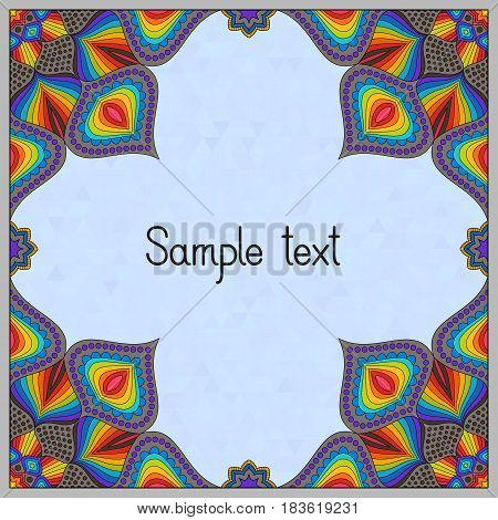 Oriental Frame Design with Mandala Pattern. Ethnic Template for Gift Card Greeting Card Postcard Invitation. Place for your Text.