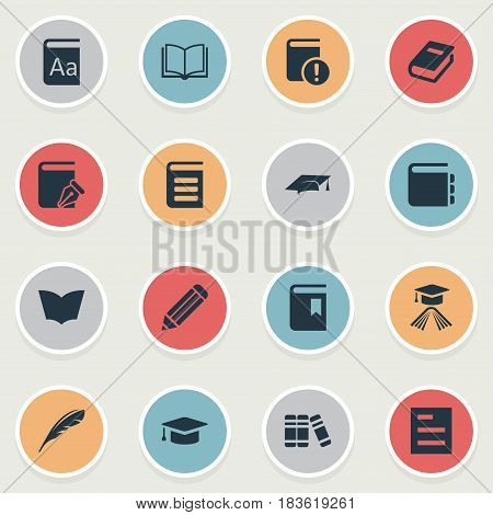 Vector Illustration Set Of Simple Education Icons. Elements Notebook, Important Reading, Graduation Hat And Other Synonyms Feather, Cap And Sketchbook.