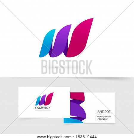 Abstract three elements vector logo, colorful gradient geometric violet purple logotype, beauty identity idea, creative colorful flame in leaves curve style, waves