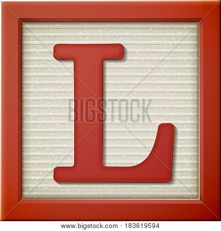 3D Red Letter Block L