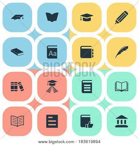 Vector Illustration Set Of Simple Books Icons. Elements Pen, Reading, Graduation Hat And Other Synonyms List, Journal And Writing.