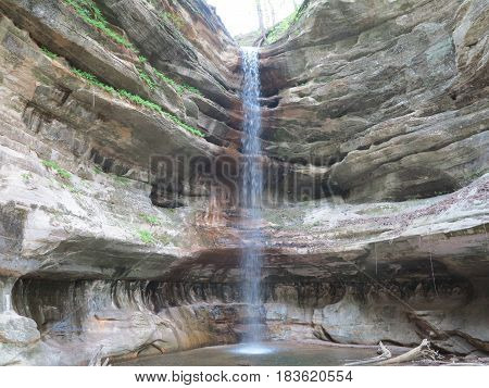 Waterfall and pool at St. Louis Canyon in spring at Starved Rock State Park