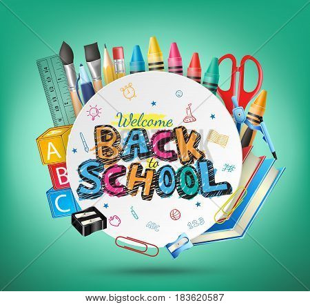 Welcome Back to School Text and School Items in Green Background. Vector Illustration