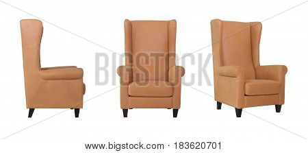 Beige Armchair front and side angle view