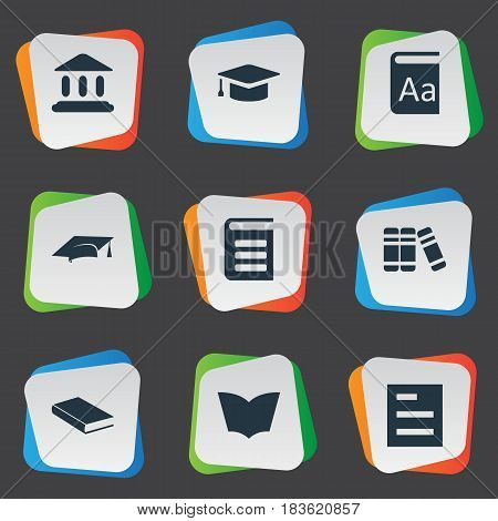 Vector Illustration Set Of Simple Education Icons. Elements Academic Cap, Library, Reading And Other Synonyms School, Graduation And Literature.