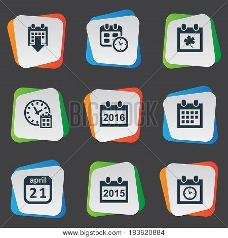 Vector Illustration Set Of Simple Calendar Icons. Elements 2016 Calendar, Date Block, Date And Other Synonyms History, Deadline And Calendar.