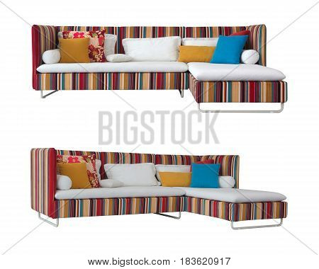 Colorful Sofa isolated on a white background