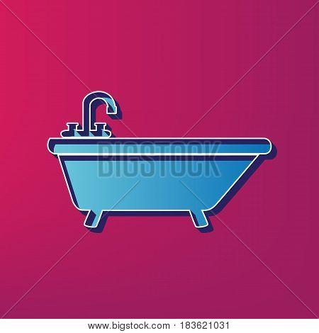 Bathtub sign illustration. Vector. Blue 3d printed icon on magenta background.