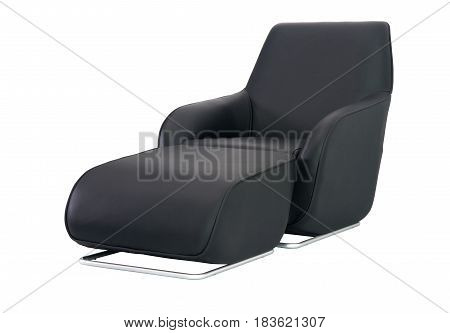 Black Armchair With Leg Extension