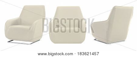 White Beige Armchair In All Angles