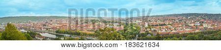 Panorama view to the city of Würzburg Franconia Bavaria Germany