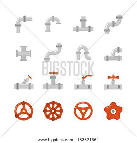 Pipe connector, water pipe fitting flat vector icons for plumbing and piping work. Set of tube construction with valve, illustration of steel tube