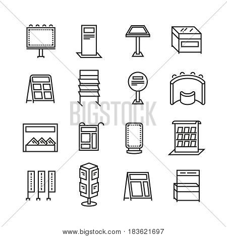 Exhibition banner stands, promo display line vector icons. Set of presentation board panel for advertising. illustration of billboard panel