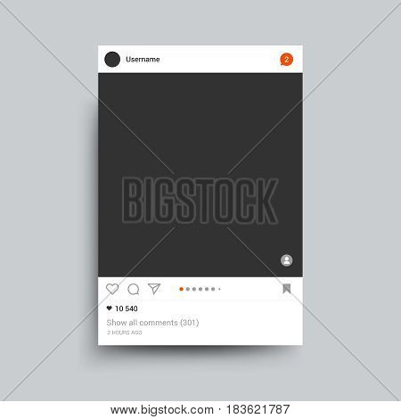 Photo frame inspired by instagram for friends internet sharing. Vector template. Web photo card blank illustration