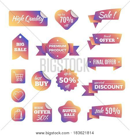 Discount shopping banners and pricing labels with ribbons vector set. Promotion pricing label, illustration of sale and discount label