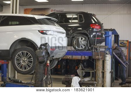 Moscow, Russia - April, 24, 2017: Cars in a car repair station in Moscow, Russia