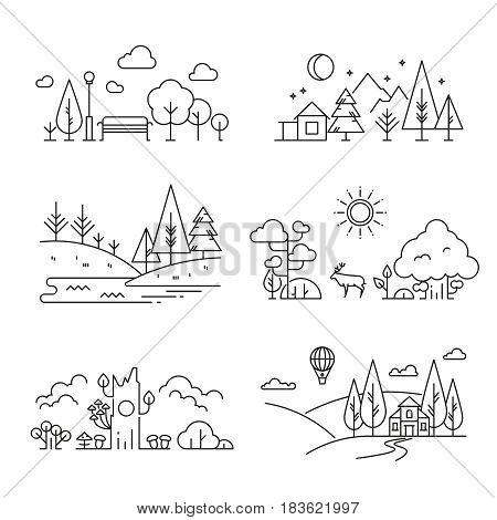 Nature landscape outline icons with tree, plants, mountains, river. River and mountain landscape, illustration of linear nature landscape