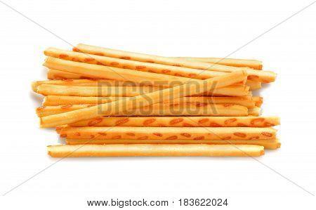 crispy straw on white background. Biscuit sticks