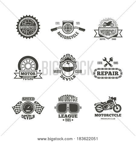 Race, motorcycle, motorbike repair vector retro labels, logo, badges and emblems. Motorbike service badge, illustration of label with motorbike