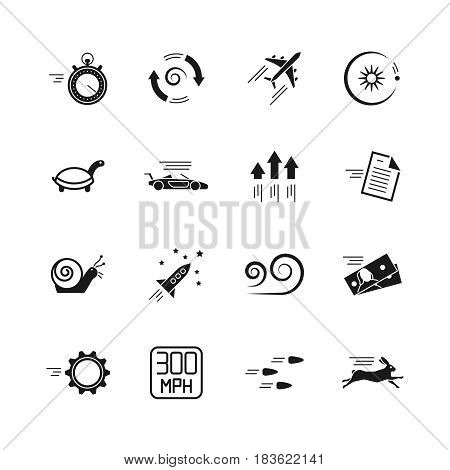 Velocity, speed and performance vector icons isolated on white background. Velocity engine car and illustration of velocity rocket, snail and turtle