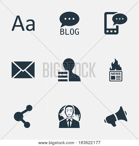 Vector Illustration Set Of Simple Newspaper Icons. Elements Cedilla, Gazette, E-Letter And Other Synonyms Share, Earnings And Forum.