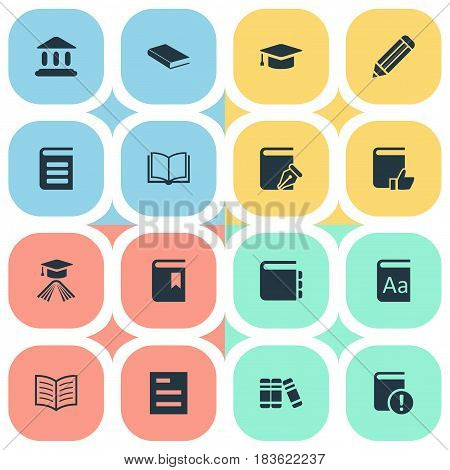 Vector Illustration Set Of Simple Reading Icons. Elements Academic Cap, Journal, Tasklist And Other Synonyms Book, Dictionary And Academic.