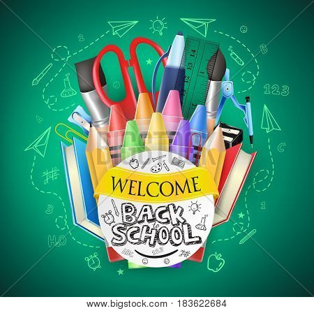 Back to School Text and Colorful School Items with Drawings in Green Chalkboard Background. Vector Illustration