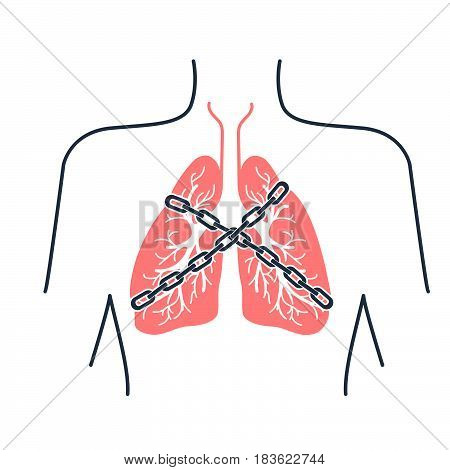 Icon of a patient with bronchial asthma in a linear style. The concept of the disease In the form of lungs are chain-bound