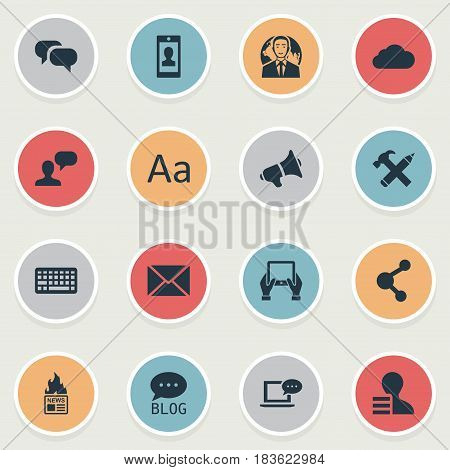 Vector Illustration Set Of Simple User Icons. Elements Gossip, Laptop, Post And Other Synonyms Smartphone, Conversation And Tablet.