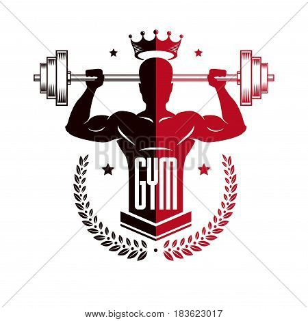 Bodybuilding Weightlifting Gym Logotype Sport Template, Vintage Style Vector Emblem. With Bodybuilde