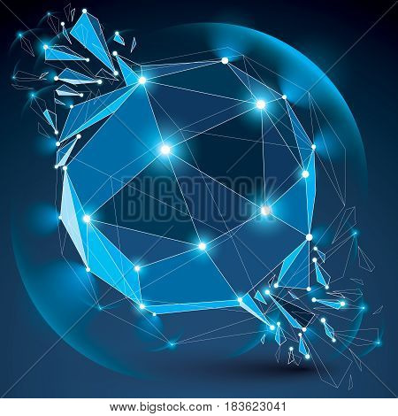 3D Vector Low Poly Blue Spherical Object With Sparkles, White Connected Lines And Dots, Geometric Wi