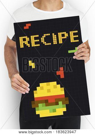 Man holding banner of 8 bit illustration of tasty burger meal