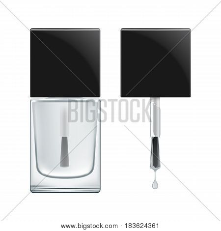 Realistic package for nail polish bases coat. Brush with black cap and transperent glass bottle with colorless varnish for manicure. Vector illustration isolated on white.