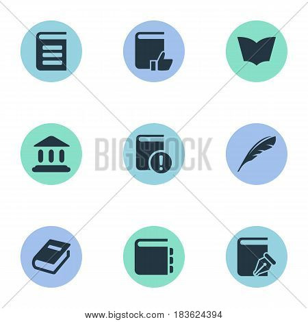 Vector Illustration Set Of Simple Books Icons. Elements Recommended Reading, Reading, Library And Other Synonyms Page, Dictionary And Building.