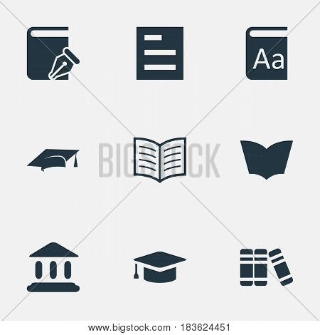 Vector Illustration Set Of Simple Reading Icons. Elements Academic Cap, Academic Cap, Tasklist And Other Synonyms Academy, Bookshelf And Write.