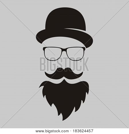 retro. The man's silhouette with mustache and a beard in a hat and eye-glasses