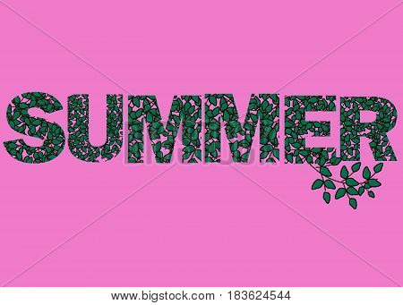 Hello Summer vector illustration background. Fun quote hipster design logo or label. Hand lettering inspirational typography poster banner.