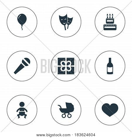 Vector Illustration Set Of Simple Celebration Icons. Elements Soul, Speech, Mask And Other Synonyms Baby, Actor And Theater.