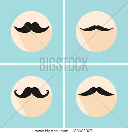 Set of hipster mustache with long flat shadow. Vector