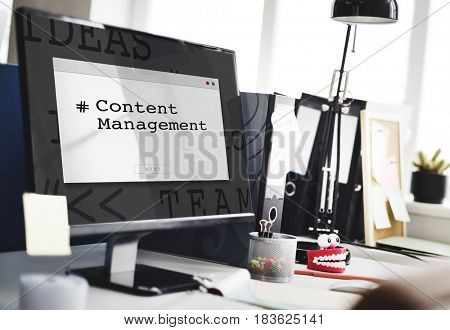 Computer Screen Show about Content Management System Word