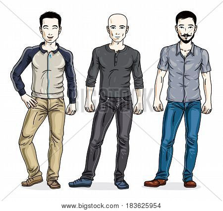Handsome Men Group Standing Wearing Fashionable Casual Clothes. Vector Set Of Beautiful People Illus