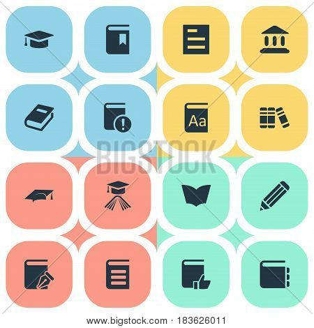Vector Illustration Set Of Simple Reading Icons. Elements Library, Recommended Reading, Sketchbook And Other Synonyms Book, Library And Academic.