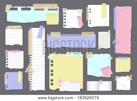 Paper banners with notes set attached with sticky colorful tape.Writing-book sheets and scraps of paper on grey background isolated realistic vector illustration